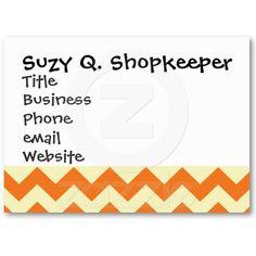 Orange Cream Citrus Chevron ZigZag Stripes Gifts Business Card Template