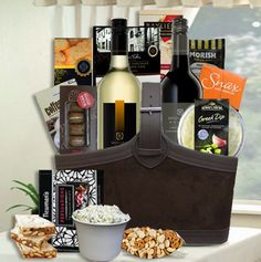Fine Wine & Gourmet Gift Basket.. Presented in Faux Leather gift Basket, shrink wrapped, with gift card and tied with satin ribbon.    www.twistedribbon.com.au