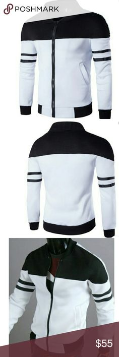 Men/'s Huge Full Zipper Fashionable Houndstooth Sweater Jacket with PU Sleeves
