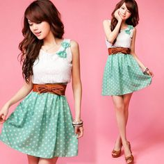 Casual Bright Mini Dress 2 Pcs Womens Lace Top Dotted Skirt Tunic Lovely Bow