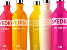 """""""ESTABLISHED has redesigned Svedka's entire product range. Using a ground breaking approach, ESTABLISHED enabled the use of super saturated colors throughout the range through an innovative shrink wrapping technique. The strong color perfectly reflects the bold attitude of the Svedka brand, while ensuring that the bottles pop off the shelf."""