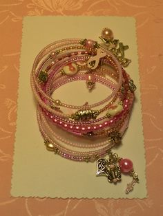 Pink Angel Breast Cancer Awareness Ribbon Memory Wire Wrap Bracelet by crafts4thecure, ♥etsy♥ $12.50
