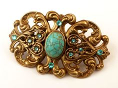 Large Barrette in bronze with turquoise rhinestone by Schmucktruhe