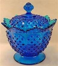Vintage Fenton Cobalt Blue Glass Hobnail Candy Dish