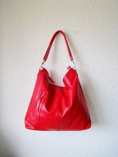 fb312aaa49 Red leather bag Leather bag clip on laptop messenger by Adeleshop