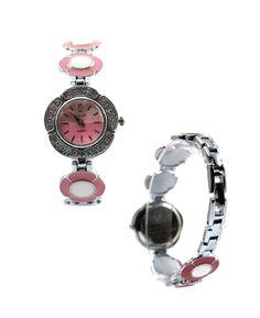 FW754C PNP fényes ezüst Watchcase Pink Dial Női Női divat karkötő óra