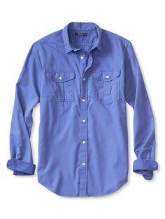Slim-Fit Garment Dye Twill Utility Shirt