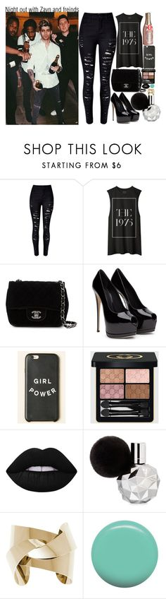 """""""Night out with Zayn and freinds"""" by fangirl-preferences ❤ liked on Polyvore featuring Chanel, Gucci, Lime Crime, Jin Soon and Kate Spade"""
