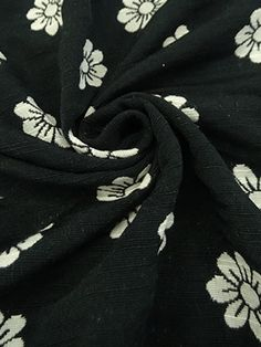 Black/Off-White Cotton/Poly Floral Jacquard Double Sided Suiting 60W