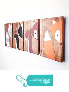 10x14 Set of 4 Woodland Animal Nursery Signs Nursery Decor Baby Shower Gift or Baby Décor nursery accessories from Amber's Wooden Boutique https://www.amazon.com/dp/B016Z4Z41O/ref=hnd_sw_r_pi_awdo_c0AfzbCPT6KRA #handmadeatamazon