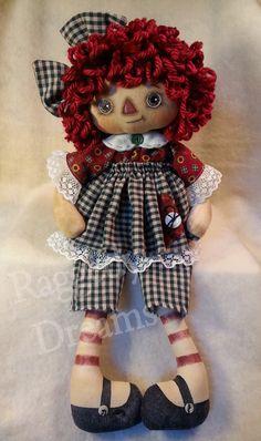 Handmade Primitive Folk Art Raggedy Ann Annie Doll - Muslin - Green Homespun…