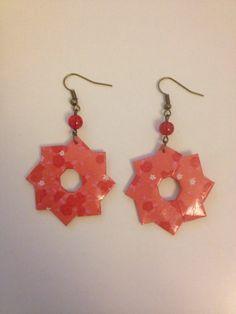 """Boucles d'oreilles """"rosace"""" origami rouges : Boucles d'oreille par isa-bo"""