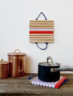 Really awesome #DIY trivets made from leather and wood!