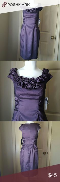 Womens Adrianna Papell  dress Gorgeous and NWT. Purple dress with roses around neckline. Very flattering darts and pleats. Adrianna Papell Dresses