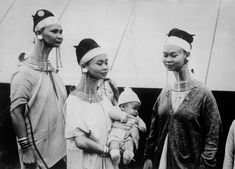 Mu Proa with her child.  Padaung Long Necked Ladies Visit London. 1935