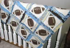 Rag Quilt PATTERN, Baby Blanket, Sewing Instructions with Footballs,  Instant Download