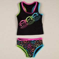 Girls 2pc Tankini 3 Neon Monkey