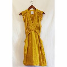 Anthropologie dress Idille mustard yellow dress from anthropologie. Gently worn condition. Beautiful for a brunch or   Work :) Anthropologie Dresses Midi