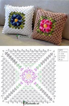 Подушки крючком с центральным цветочным мотивом