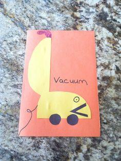 Letter V craft. V is for vacuum - preschool craft