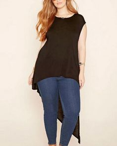 bd8a9298e7c Chic black asymmetrical t shirt for women high low tops XXXXXL Curvy  Fashion Summer