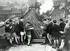Trainspotting memories in pictures - Telegraph - This picture shows schoolboy train-spotters at Newcastle station in London History, British History, Steam Railway, British Rail, Old Trains, Famous Movies, Train Tracks, Newcastle, Locomotive