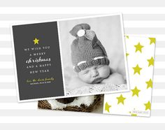 $15+ Photo Holiday Card  Modern Photo Christmas by paperheartprints #christmas #christmascard #holidaycard #holidays #star #gray #yellow #photocard #papergoods #etsy