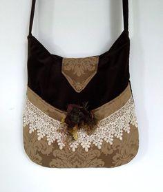 Velvet Boho Bag Lace Messenger Bag Bohemian  by piperscrossing, $62.00