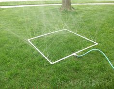 This would be a great way to make your own sprinkler system for cheap! I looooove it! All you have to do is make your frame out of PVC pipe, drill small holes in it, along the entire frame, then add a hose.