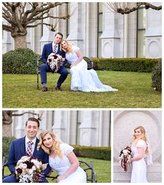 Bride and Groom on the lawn of the Salt Lake Temple on LDS Bride Blog