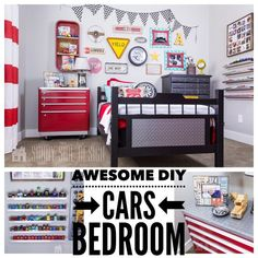 Calling ALL Car lovers! This is the Ultimate DIY Cars Bedroom! (Disney Cars, Hot Wheels, any kind of Hot Wheels Bedroom, Boys Car Bedroom, Car Themed Bedrooms, Car Nursery, Bedroom Themes, Boy Room, Car Bedroom Ideas For Boys, Car Themed Nursery, Hot Wheels Storage