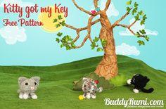 Crochet kitty keychain, free pattern, #haken, gratis patroon (Engels), sleutelhanger, poes, kat, amigurumi