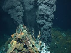 The 40,000-Mile Volcano By WILLIAM J. BROADJAN. 12, 2016 - The New York Times.  The Turtle Pits site on the mid-Atlantic Ridge, consisting of two sulfide mounds and a black smoker chimney. Credit Center for Marine Environmental Research/University of Bremen, Germany