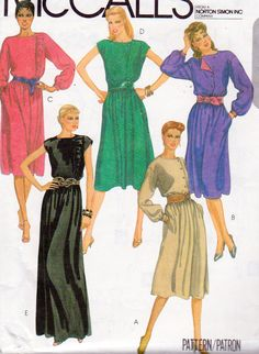 McCalls 8324, Misses Size 18 Pullover Dress, Off Center Button Closure, Flared Skirt, Side Seam Pockets, Sleeve Variations, Elastic Waist by OnceUponAnHeirloom on Etsy
