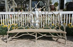 Faux bois #branch motif outdoor #bench adds style to any space! #Southampton #Mecox #interiordesign #Hamptons #MecoxGardens #furniture #shopping #home #decor #design #room #designidea #vintage #antiques #garden