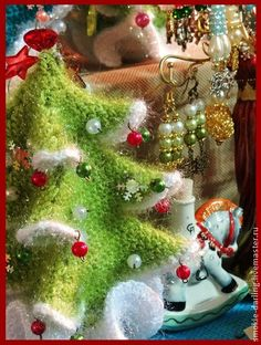 handmade knitted Christmas trees.