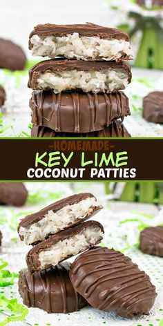 Homemade Key Lime Coconut Patties - these homemade coconut candies have a sweet and tart filling covered in dark chocolate that everyone loves. Try this easy recipe for spring and summer parties or events. #keylime #coconut #homemade #candy #easter #floridadessert #darkchocolate