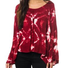 One teaspoon  Xs red tie dye long sleeve blouse Just let me know which size 😍 buy here or visit my store stores.ebay.com/brandnameday One Teaspoon Tops Blouses