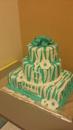 Teal zebra print cake Birthday Cakes, Birthday Ideas, Zebra Print Cakes, Party Cakes, Teal, Desserts, Food, Anniversary Cakes, Anniversary Ideas