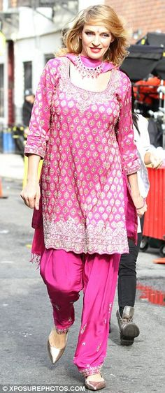 Traditional dress: Uma Thurman and Debra Messing were seen in Bollywood costumes