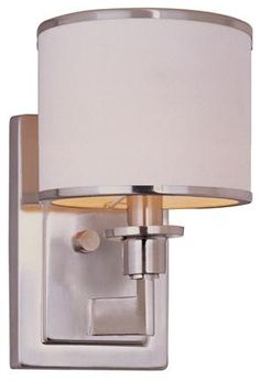 Petite Candlestick Swing Arm Sconce Polished Nickel With Linen