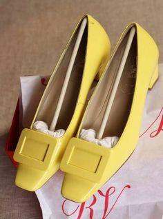 Roger Vivier Decollete Miss D Leather Pumps Yellow
