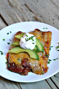 Easy Beef and Cheese Enchiladas Recipe - from RecipeGirl.com