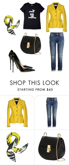 """""""Black, white and yellow."""" by dsrapparel on Polyvore featuring Mauro Grifoni, H&M and Jimmy Choo"""