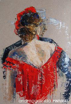 Andrea Galindo. Pintura: FERIA Y GITANITAS III