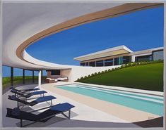 DREAM HOUSE Modern Palm Springs mansion. Mid century modern living. This is a limited edition (200 prints) print by Linda Tillman. It is a print of an original gouache painting. Prints are all printed on archival matte paper. They are printed with a Canon iX6500 printer. Each print has a colored border as on the original painting. The edges of the composition fade softly into white as they do on the original painting. The print will fit a standard pre-cut matte for easy framing. The size is 14 x Villa, Modern Architecture House, Interior Architecture, Modern Houses, Interior Design, Circular Patio, Modern Mansion, Exterior, Mid Century House