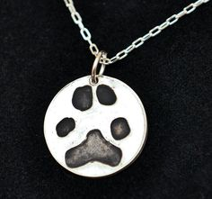 Silver Jewelry ~ actual paw print on a pendant with name on the back.