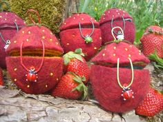 """Filzdöschen """"Frische Erdbeeren von Alte Posthalterei® auf DaWanda.com"""