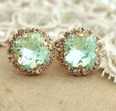 Clear Mint green seafoam Crystal stud Petite vintage by iloniti, $43.00 mint,Rhinestone,earrings,style,classic