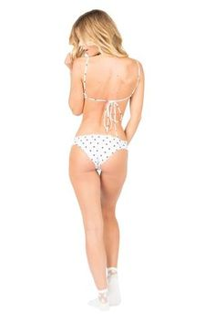 Lolli Swim Polka Dot Bottom - Sunny days are guaranteed in this Lolli Swim polka dot bottom. The Sunny Days bottom in chocolate chip is Lolli's most popular full coverage bikini bottom. The scalloped edges are super cute with the polka dot print. Its matches any Lolli bikini from the Spring 2017 collection, so have some fun with the mix-and-match. #polkadot #bikinibottom #cheeky